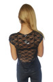 Short Sleeve Black Top with Lace Back & Lace Pocket!  (A-16)