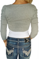 100% Cotton Classic Cardigan With Rose Applique Heather Grey (A-130)