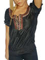 Boho-Chic | Embroidered | Black Peasant Top | 72% Rayon (C-83)