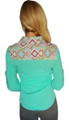 Cotton Western Shirt! Long Sleeve, Button Down. Mint Aztec Pattern.  (B-34)