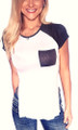 95% Rayon | Short Sleeve Top | Cutout Slit Sides | White, Navy.