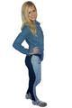 100% Cotton | Ankle Length Joggers | Oatmeal & Denim Blue (D-171)