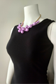Boutique Necklace of Oversized Faux Pearls. Lilac, Purple.  (G-103)