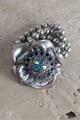 Flower & Bead Stretch Bracelt Silver w/AB & Ameythst Stones