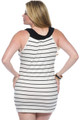 Plus Size Black and White Striped Dress is 95% Rayon. Made in the USA. (C-139)
