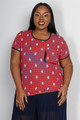 Plus Size Top with Polka Dots and Peace Signs.  (C-183)
