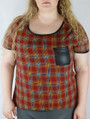 Plus Size Plaid Top w/ Vegan Leather Pocket. (B-61)