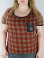 Plus Size Plaid Top w/ Vegan Leather Pocket. (B-61)