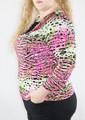 Large thru XXXL Cowl Neck Top with Black Underlay! Pink Leopard. (H-45)