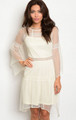 Round Neck Long Bell Sleeve Sheer & Lace Mini Cream Dress (17-1)