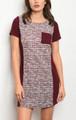 Short Sleeve Light Weight Knit Burgundy & Ivory Dress (17-2)