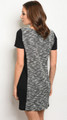 Short Sleeve Light Weight Knit Black & Ivory Dress (17-3)
