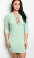 Plus Size Trendy Bodycon Dress 3/4 Sleeves & Plunging Neckline Lace Up Detail. Mint Green (17-6)