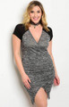 Plus Size Short Sleeve Plunging V-Neck Marbled Bodycon Dress. Charcoal & Black (17-7)