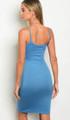 Sexy spaghetti strap Bodycon Lacy Up Dress Indigo Blue (17-8)