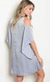 Silky Light Blue Cold Shoulder Midi Dress w/Criss Cross Neckline (17-20)