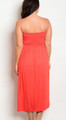 Plus Size Strapless Maxi Dress Floral Design Coral and White (17-26)