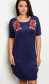 Plus Size Short Sleeve Faux Suede Navy Mini Dress w/Rose Accents  (17-35)