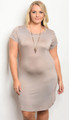 Plus Size Short Sleeve Fitted  Soft Dress Crew Neckline. Taupe  (17-38)