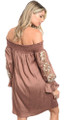 Elegant Off The Shoulder Skater Dress Features Floral Applique. MOCHA(17-39)