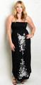 Plus Size Strapless Maxi Dress Floral Design Black and White  (17-44)