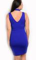 Plus Size Mini Bodycon Royal Blue Dress Features a Floral Applique & Chocker (17-56)