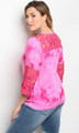 Plus size 3/4 Sleeve Tie Dye Fuchsia Top Features Lace Details  (17-83)