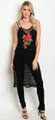 Mesh Sleeveless Floral Detail Extended Black Top  (17-87)