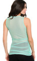 Sleeveless Sheer Fitted Lace Up V Neck Mint Green Top (17-90)