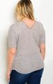 Plus Size Short Sleeve Zipper Front Top  (17-99)