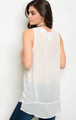 Sleeveless Light Weight Features Lace & Embroidery Cream Top  (17-103)