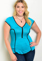 Fitted Plus Size V Neck Turquiose Top with Piping Details.  (17-109)