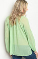 Sheer Long Sleeve Mint Green Light weight Top  (17-118)