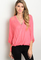 3/4 Sleeve Surplice w/Eye Lash Lace Accent Coral Top  (17-121)