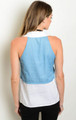 Sleeveless Ivory & Denim Top with Self-Tie Bow.  (17-132)