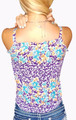 Major Brand 100% Rayon Sleeveless Button Accent Purple/Orange Flower Top (H-2)
