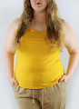 Plus Size Adjustable Strap Yellow Tank Top w/Lace trim (H-3)
