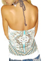 Junior  Cotton Halter Top Wood Bead Neckline & Braided Rope Ties. Turq/Brown (H-6)