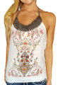 Junior Cotton Halter Top Wood Bead Neckline & Braided Rope Ties. White/Red/Brown (H-7)