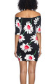 Sexy, Fun Off Shoulder Black Sunflower Print Dress (20-12)