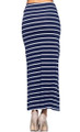 Classic Stretch Maxi Long Navy Blue & White Stripe Skirt (20-29)