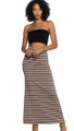 Classic Stretch Maxi Long Taupe & White Stripe Skirt  (20-30)