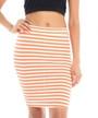 Orange and White Strip Bodycon Stretchy Skirt  (20-32)