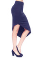 Classic Stretch Asymmetric Navy Blue Skirt (20-35)