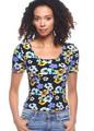 Short Sleeve Scoop Neck Black Floral-Pansies All Over Print Top (20-42)