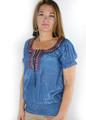 Boho-Chic Embroidered Denim Peasant Top 72% Rayon (i-2)