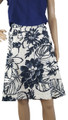 Plus Size Linen Floral Print Skirt w/Pockets (i-6)