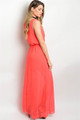 Flowy Coral Maxi Dress Features Empire Silhouette  (21-2)