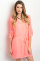 Detail Lace Sleeves Self-Tie Bright Coral Dress (21-5)