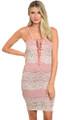 Spaghetti Strap Lace-Up V Neck Rose & Beige Lace Dress (21-7)